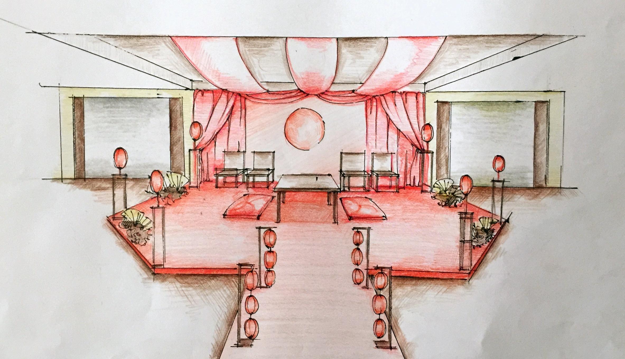 中式婚礼手绘