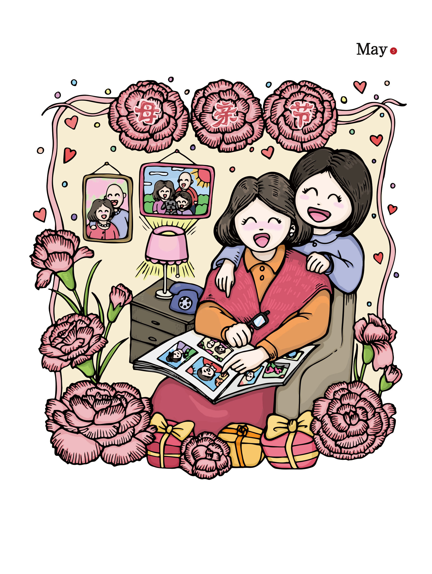 母亲节手绘插画(psd下载)
