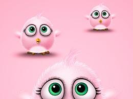 粉嫩的几只萌萌可爱的小萌鸡ps鼠绘仿3d小动物