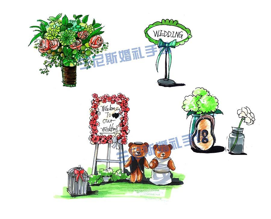 专业婚礼手绘——草坪婚礼婚礼道具