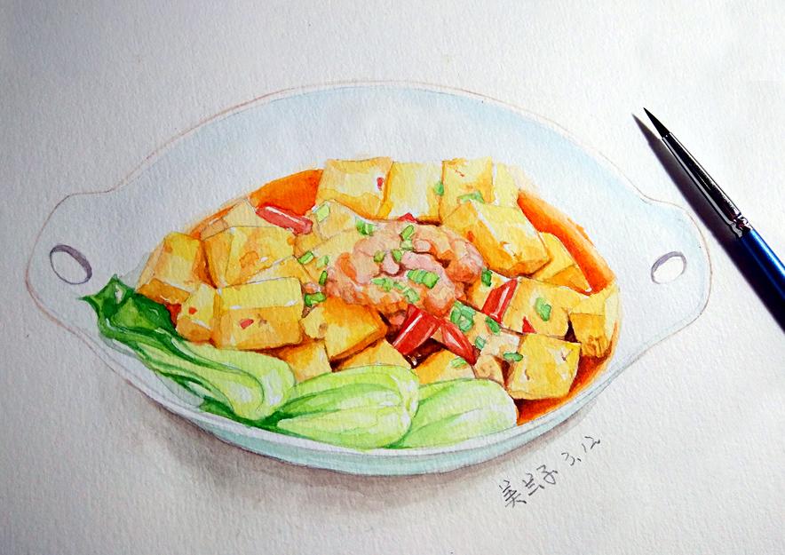 手绘美食 麻婆豆腐