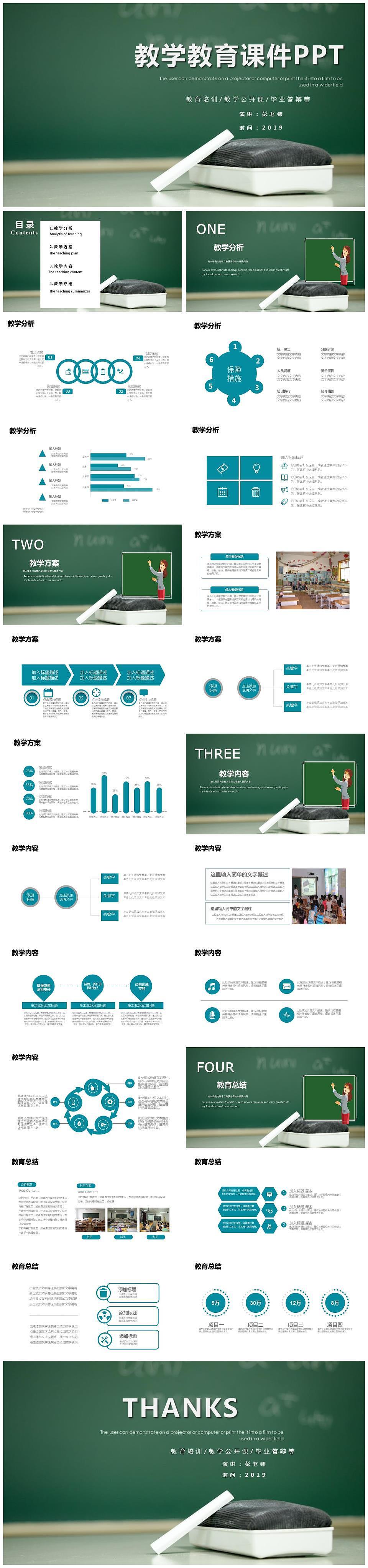 教育教学科研演示课件ppt模板图片