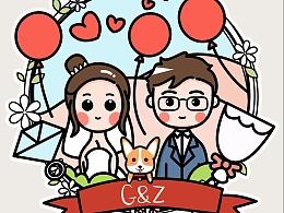 为自己婚礼创作的插画