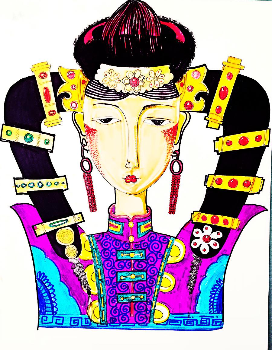 手绘插画,蒙古族元素,蒙古族图案