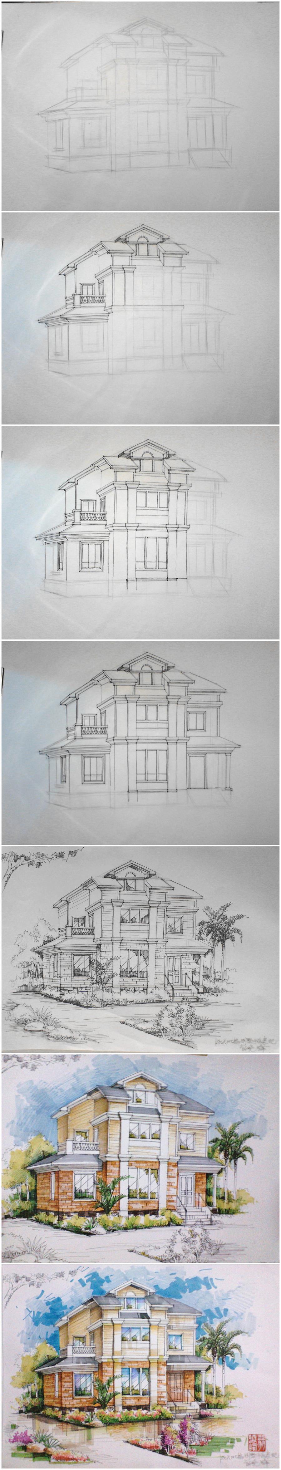 欧式别墅外观手绘效果图步骤图