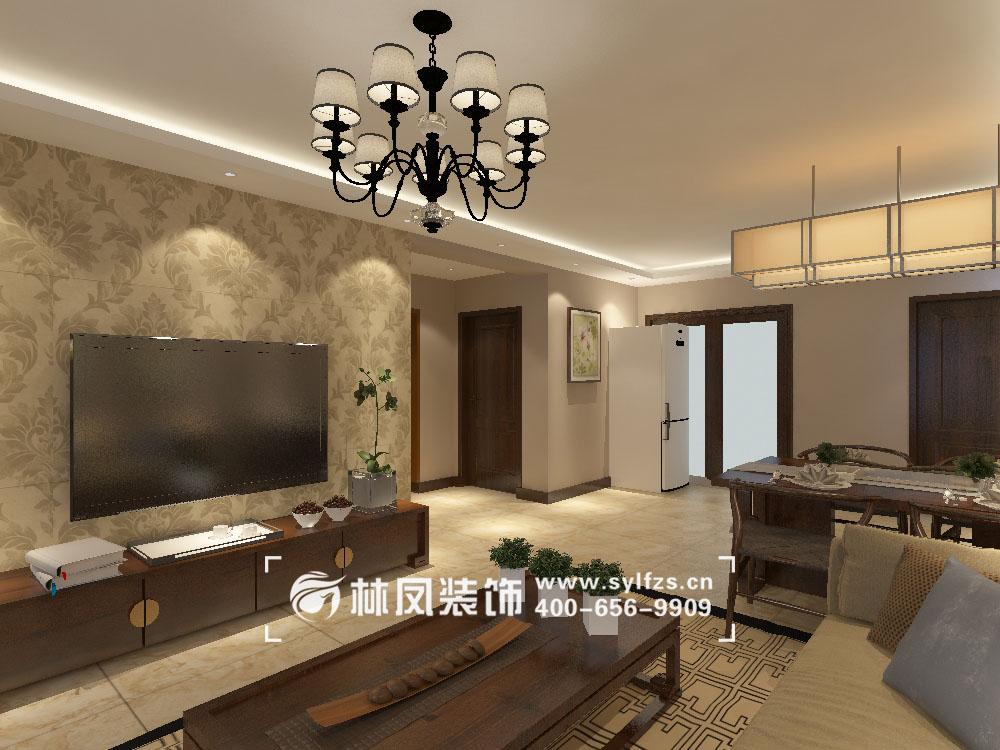 让整体空间不像中式装修那样的沉重,搭配上木质的茶几与中式的地毯,给图片