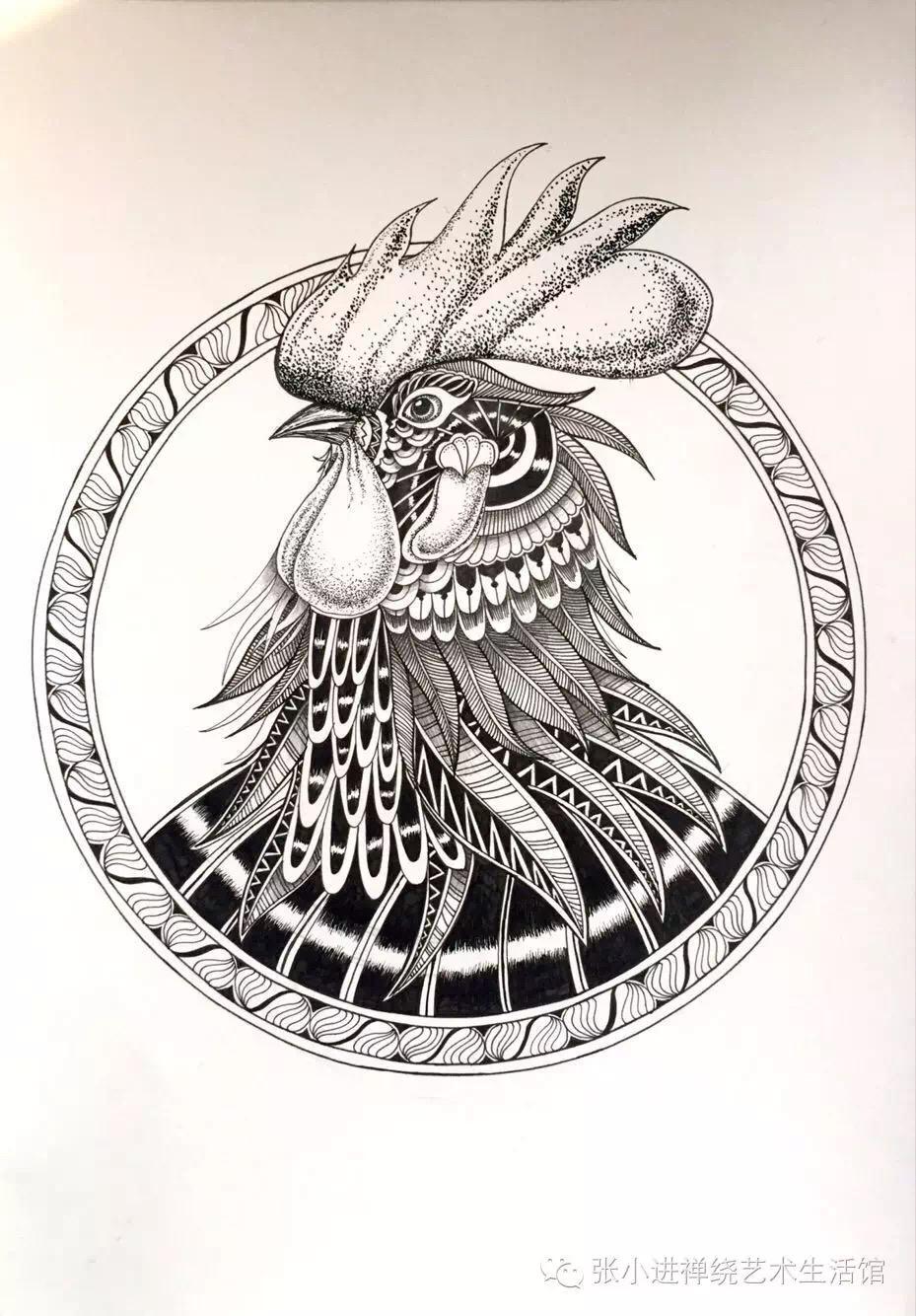 针管笔手绘鸡猴猪牛