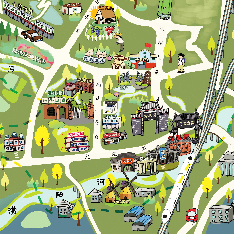 广汉西外乡卡通手绘地图