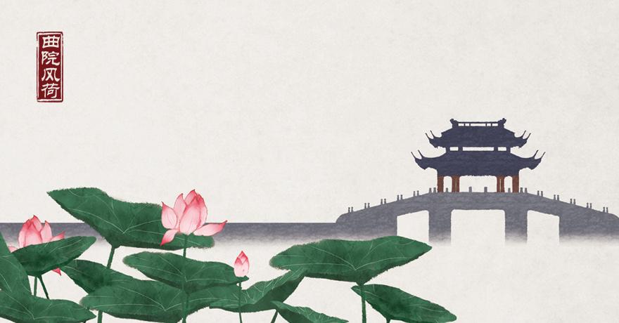 水墨中国风插画——杭州印象·西湖十景