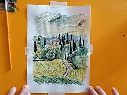 水彩画丘陵地貌托斯卡纳风景