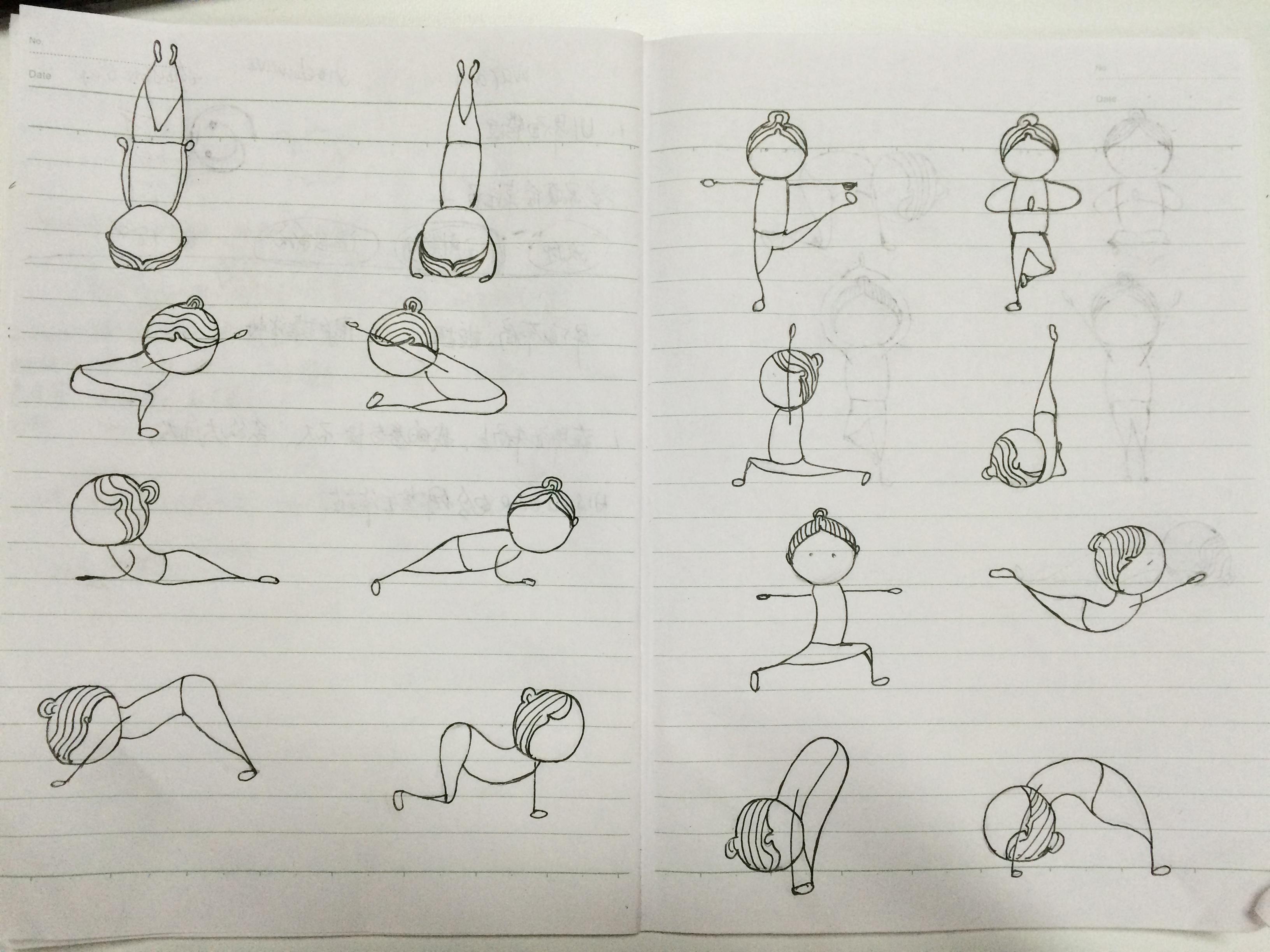 手绘瑜伽小人