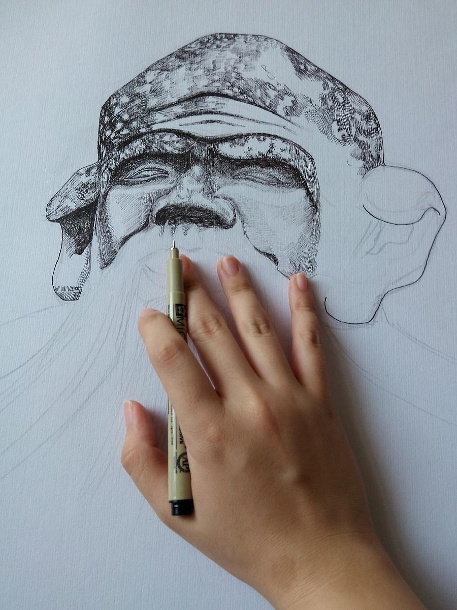 泉州印象之老君岩 钢笔画 纯艺术 少野1029 - 原