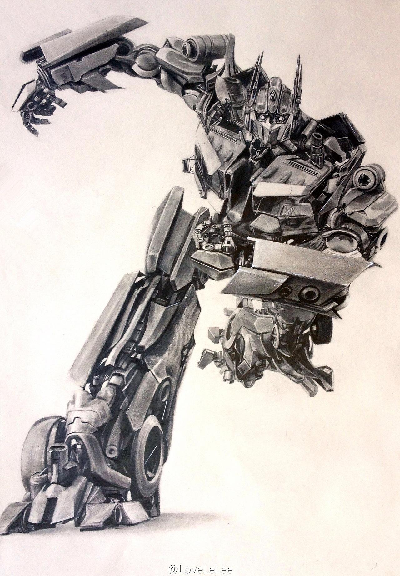 铅笔手绘变形金刚——擎天柱optimus prime