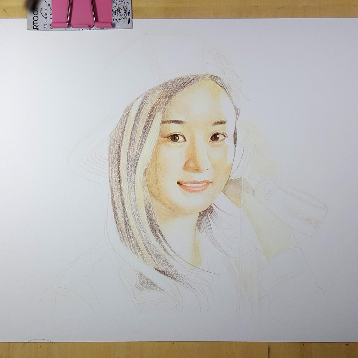 赵丽颖 彩色铅笔画 吼也手绘