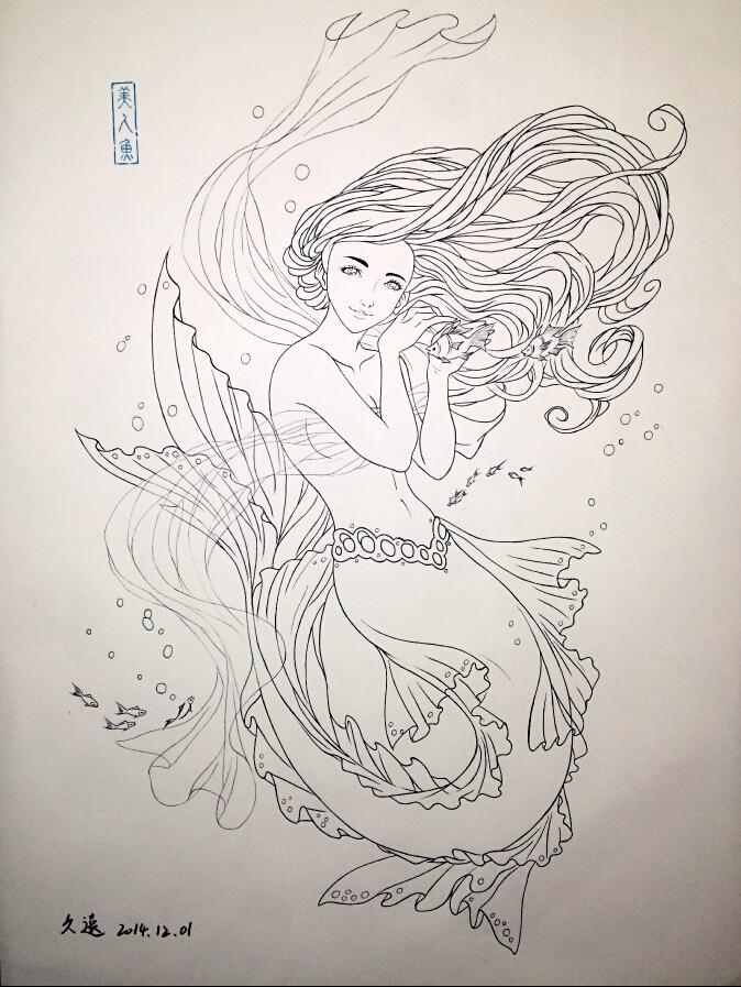 其他 - 彩色铅笔 使用了:其他 - 针管笔        深海里的小美人鱼
