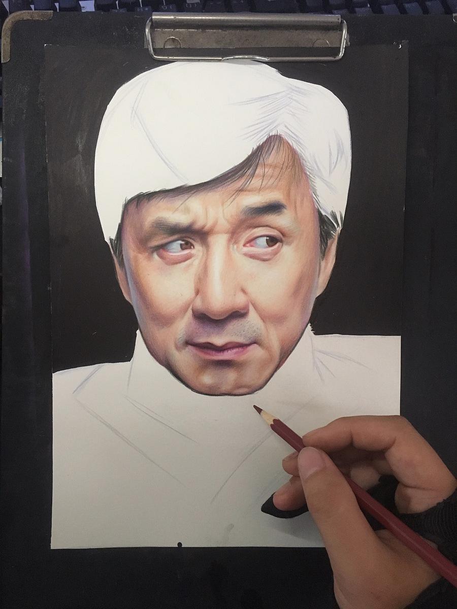 原创作品:彩铅手绘成龙大哥