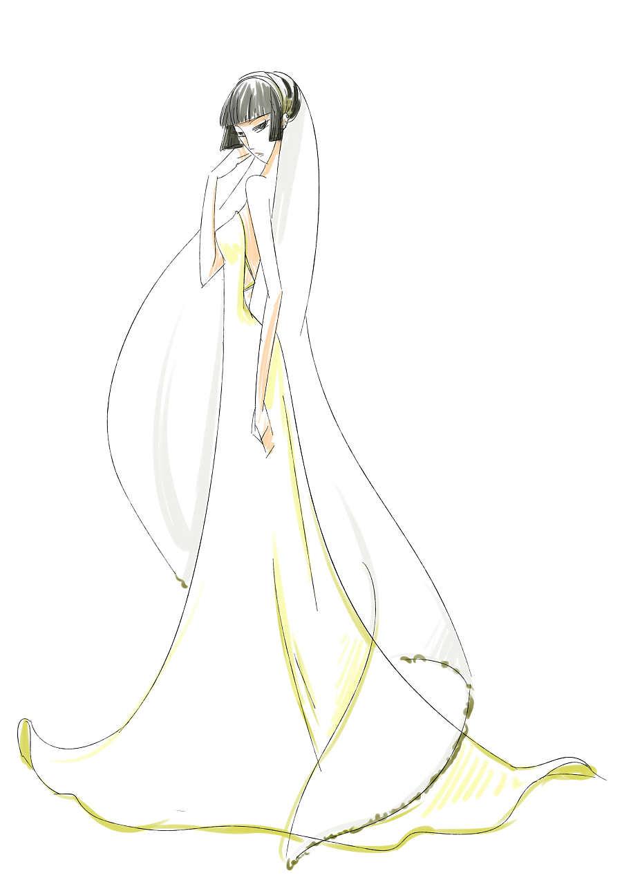 纯属巧合,都是按我自己心中想的画的,只是喜欢画画婚纱大裙子之类的图片