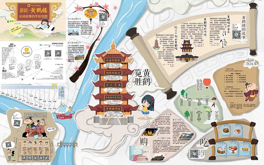【黄鹤楼手绘地图/明信片】|商业插画|插画|ta叫