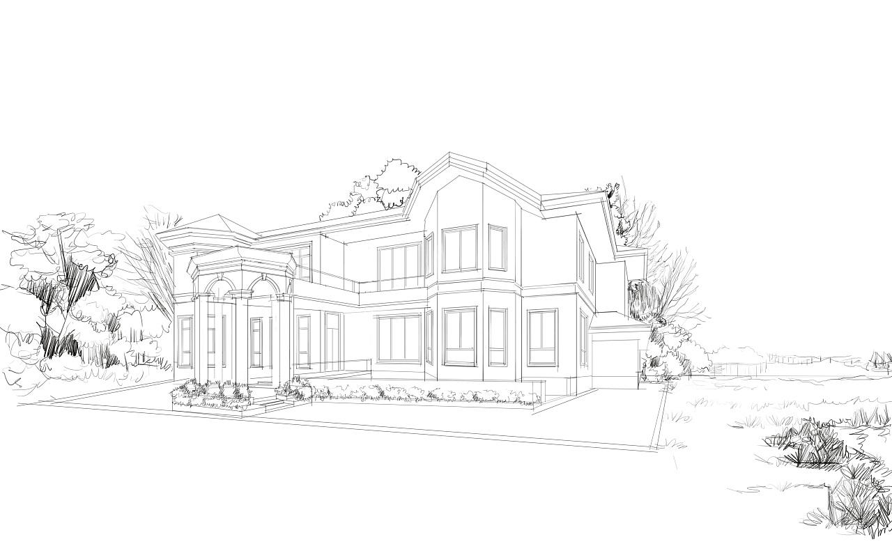 上海别墅外观(电脑手绘效果图) 空间 建筑设计 筑作人图片