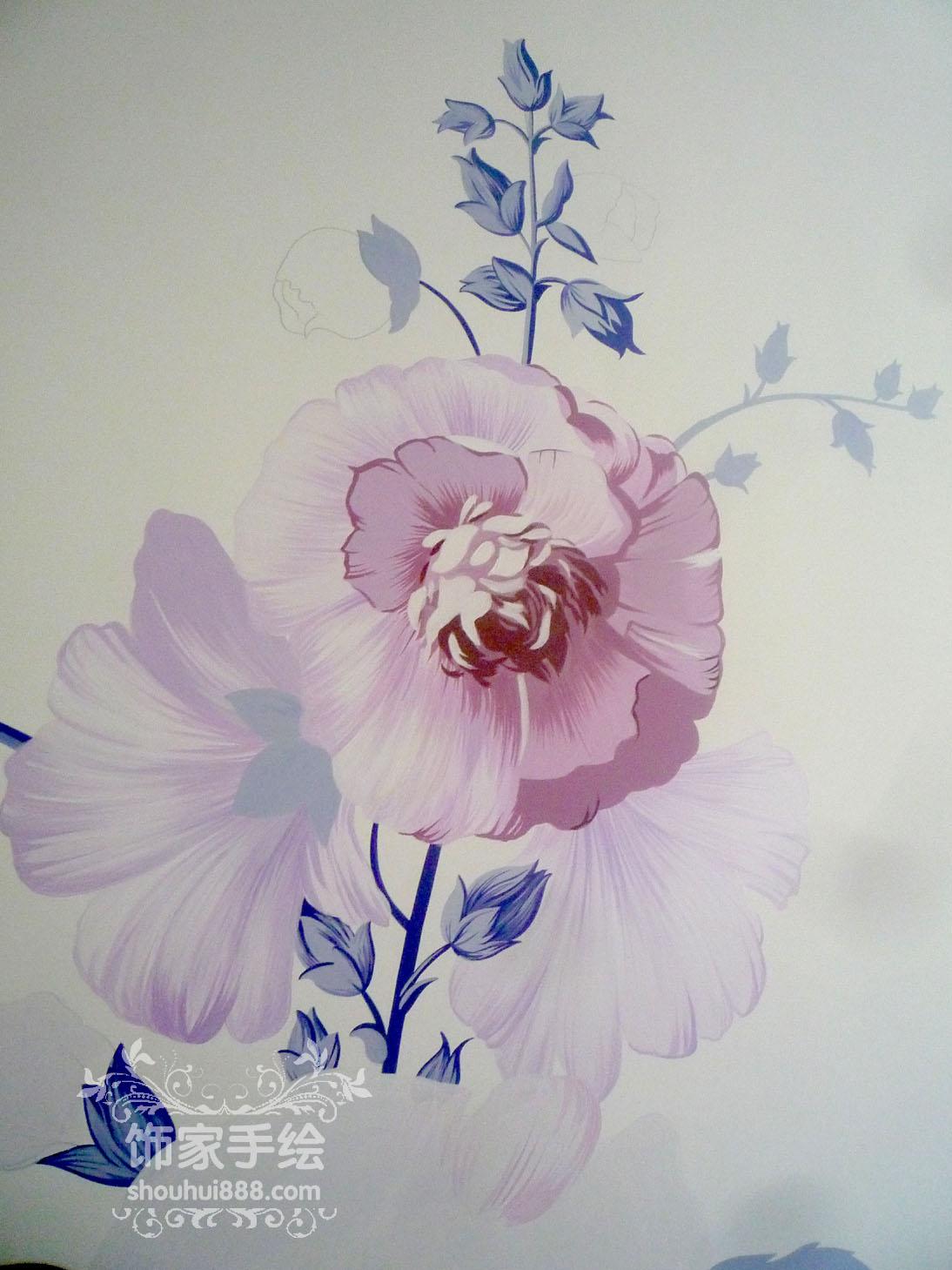 大庆饰家手绘-大庆手绘木槿花