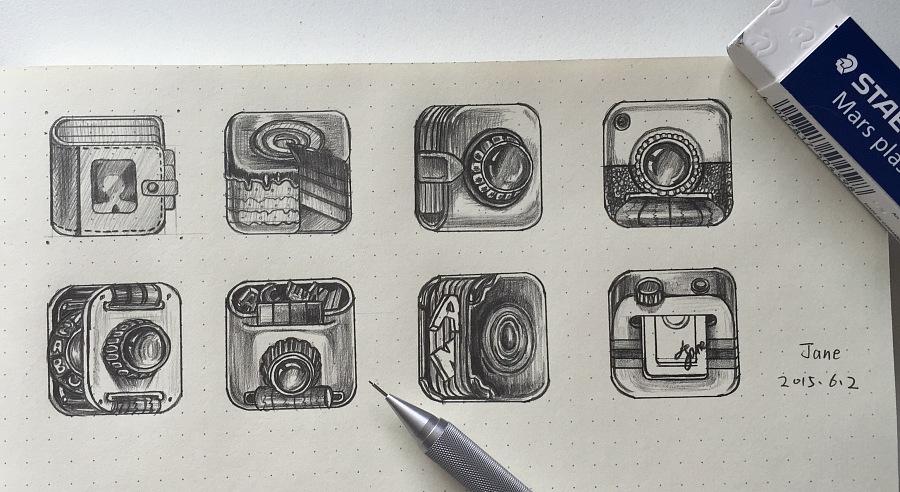 手绘手机图标临摹