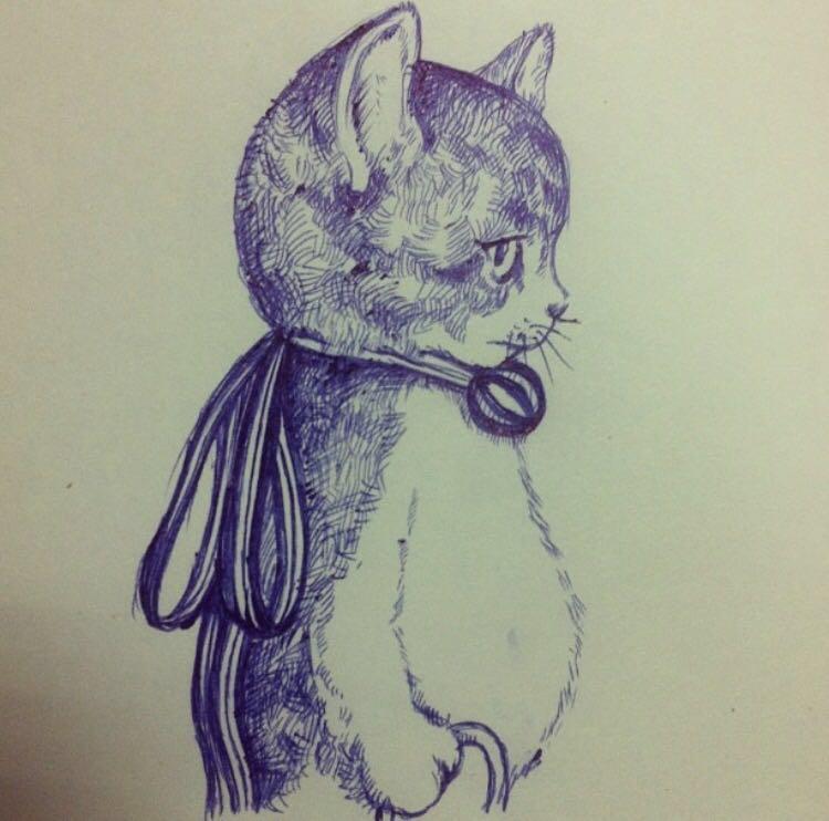 手绘猫咪(圆珠笔)
