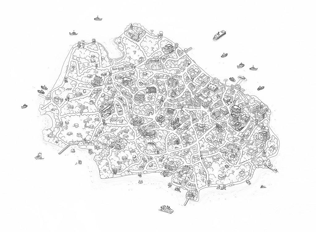 鼓浪屿手绘地图,线稿,你还记得那些年在岛上一起寻过的糖猫,八婆婆