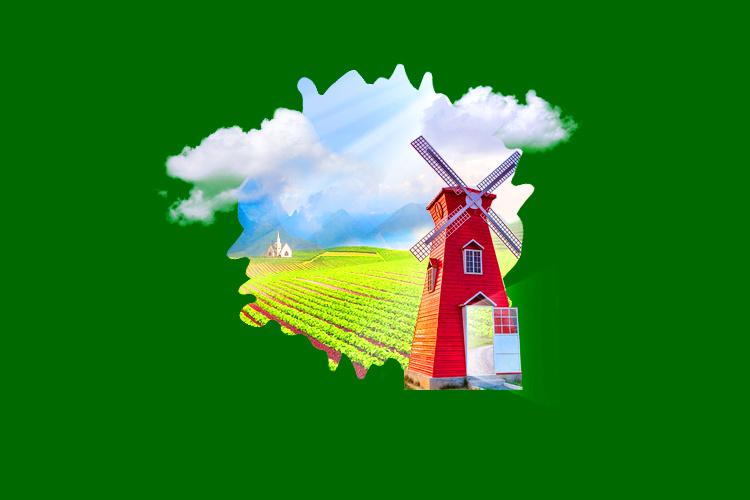 田园风光创意海报合成|平面|海报|秀木朗 - 原创作品