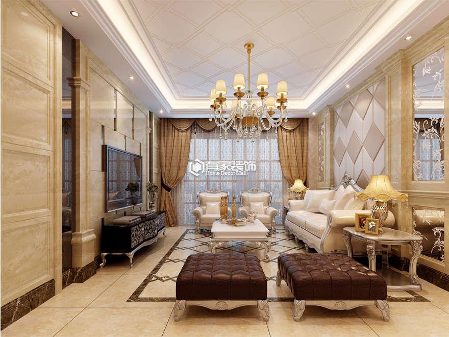 厦门水岸豪景130平欧式风格客厅装修效果图|室内设计