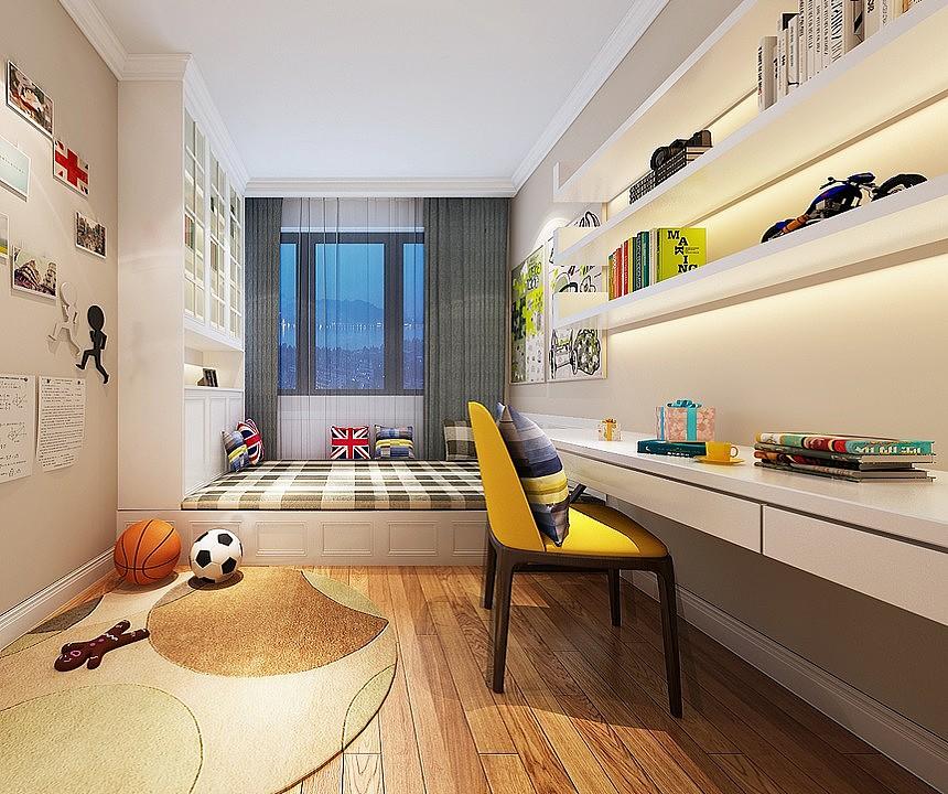 郑州正商华钻装修小三房103平-儿童房标配榻榻米与书架