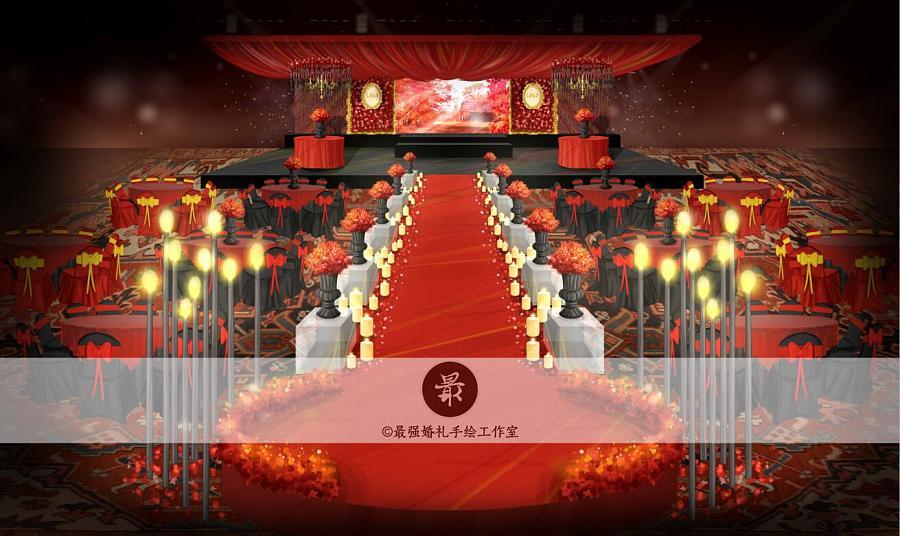 【婚礼手绘】红黑厅内电脑手绘效果图