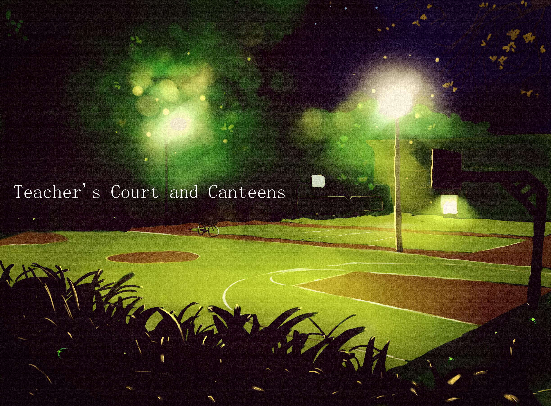 场景静态手绘作品-篮球场