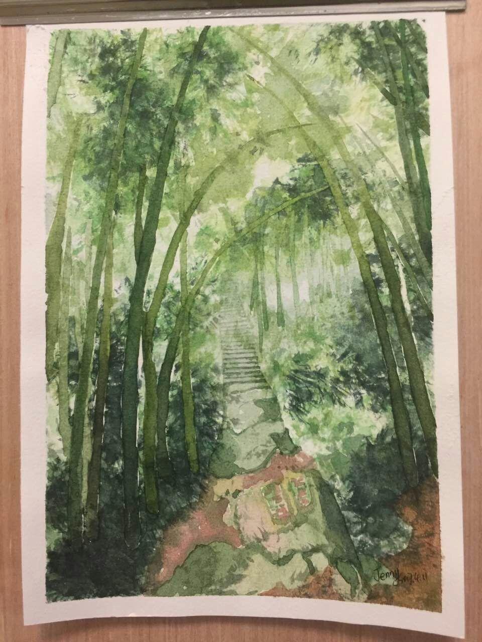 古代竹林夜景手绘漫画