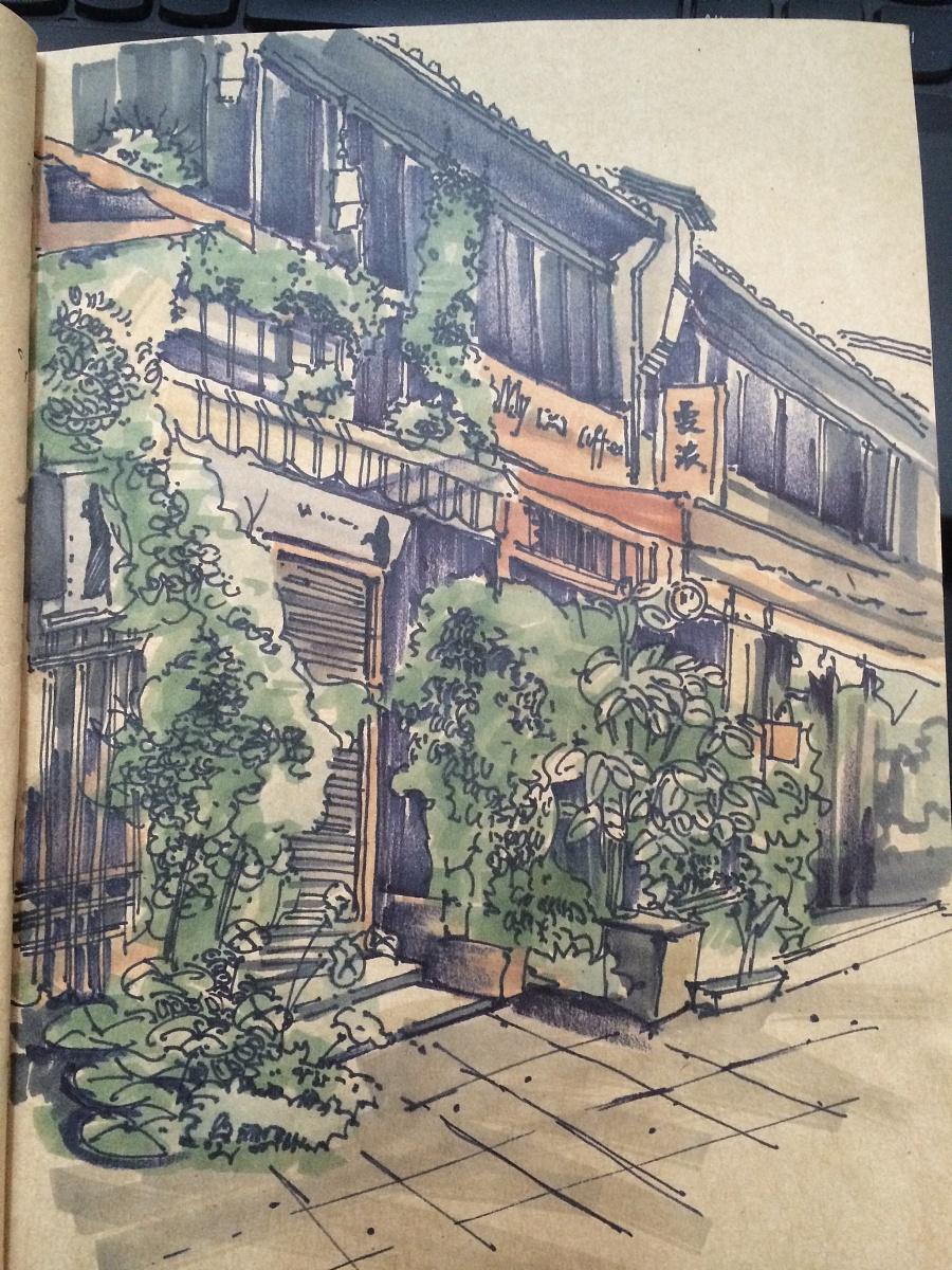 杭州代表建筑手绘