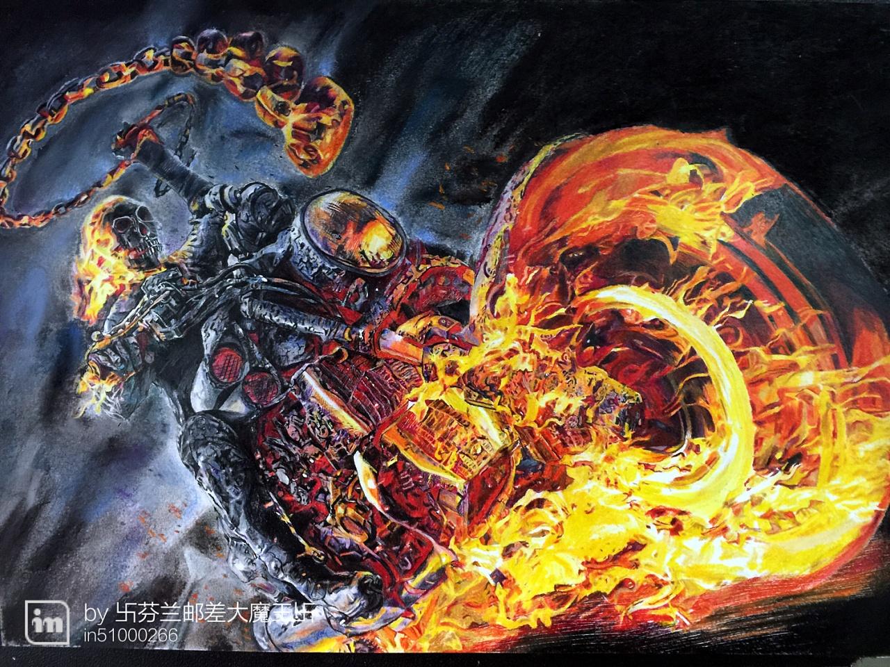 邮差彩铅手绘—恶灵骑士