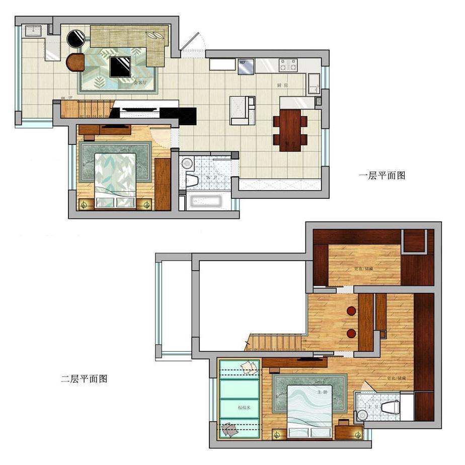 100平米loft平面图