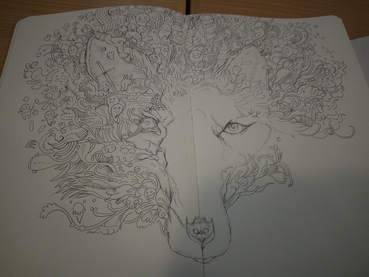 【针管笔手绘02】手绘黑白涂鸦——北极狼!
