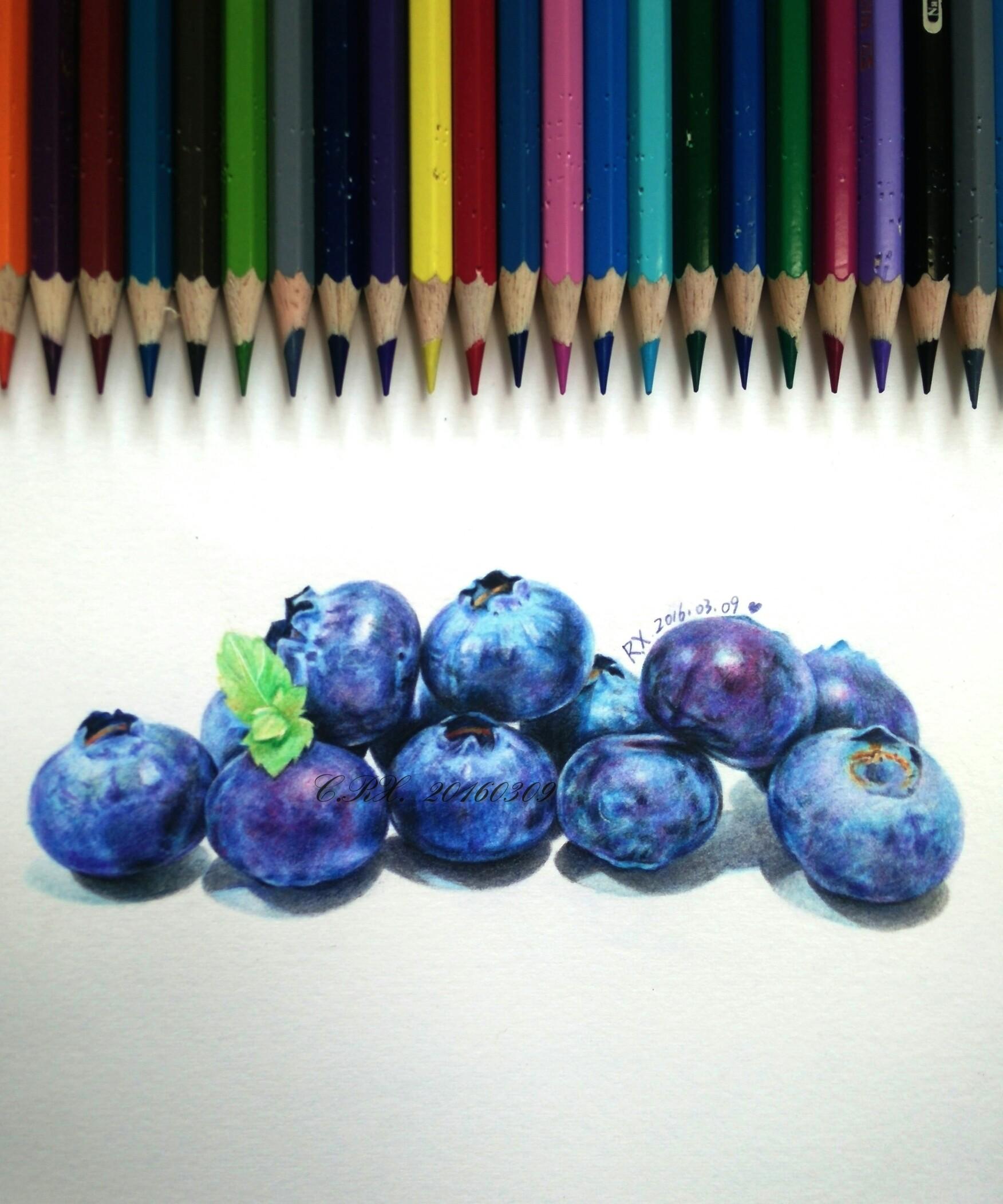 【彩铅水果】蓝莓娃