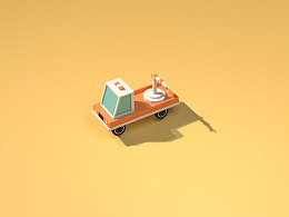 C4D建模小车动效
