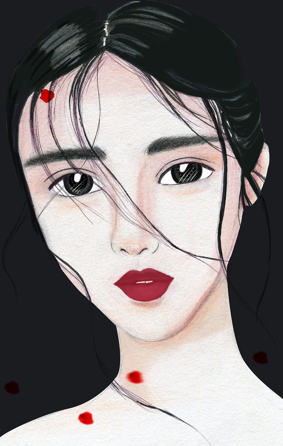 原创作品:彩铅手绘美女