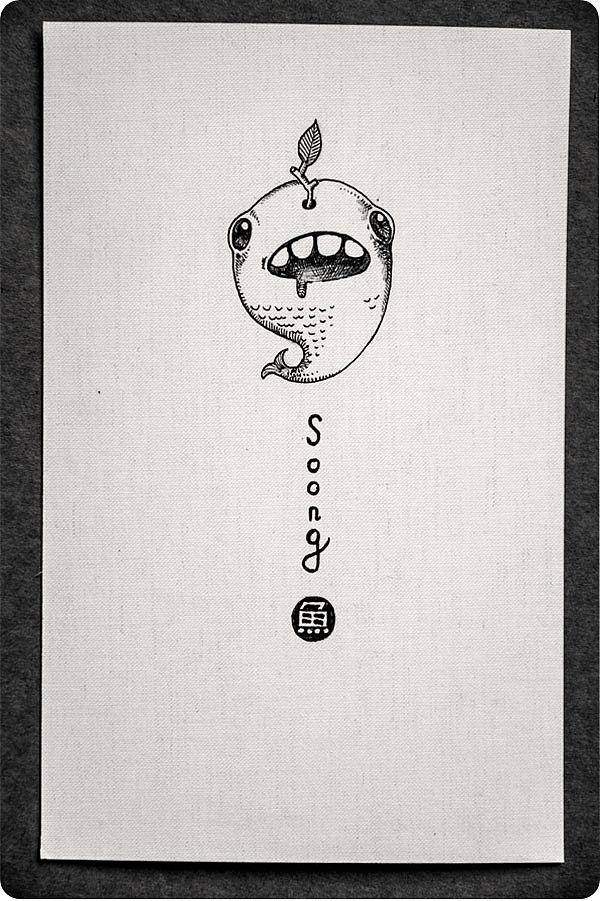 简单的手绘明信片