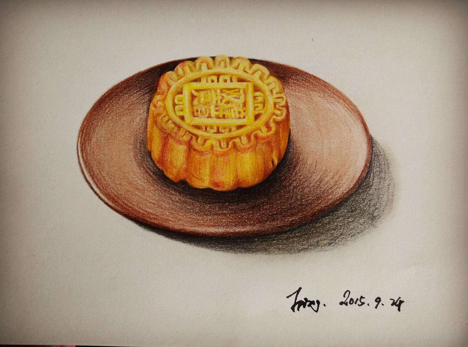 彩铅手绘中秋月饼