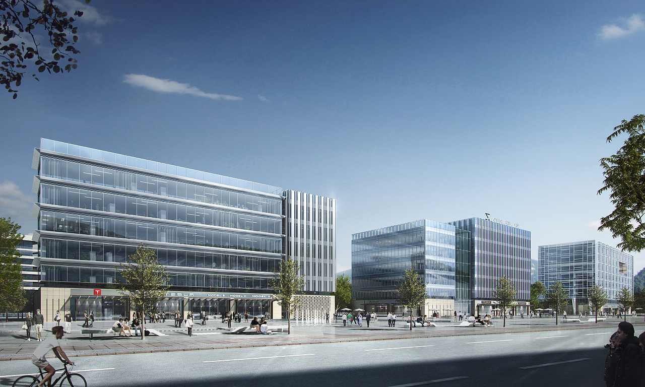 玻璃建筑效果图_Model S- 特斯拉 科研办公楼项目-(建筑表现效果图)|三维|建筑 ...
