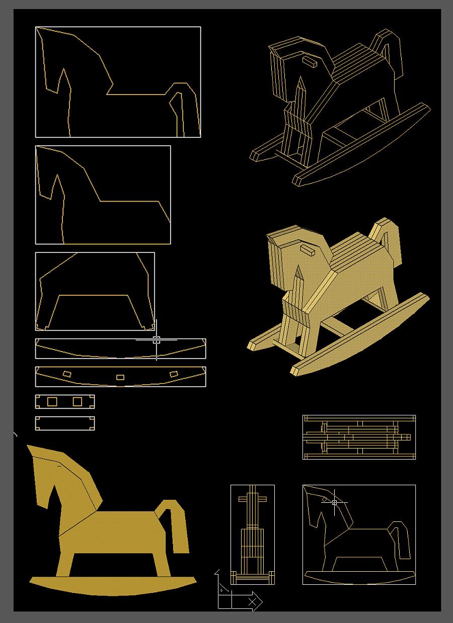 DIY小手工(瓦楞纸设计)|其他图纸|手工艺|70后制作户外折叠椅木马图片