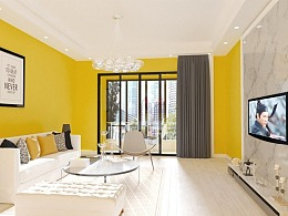 室内设计35期长期班0基础学员刘同学作品:黄色北欧风格
