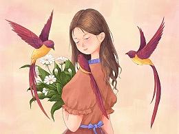 少女·花朵与鸟