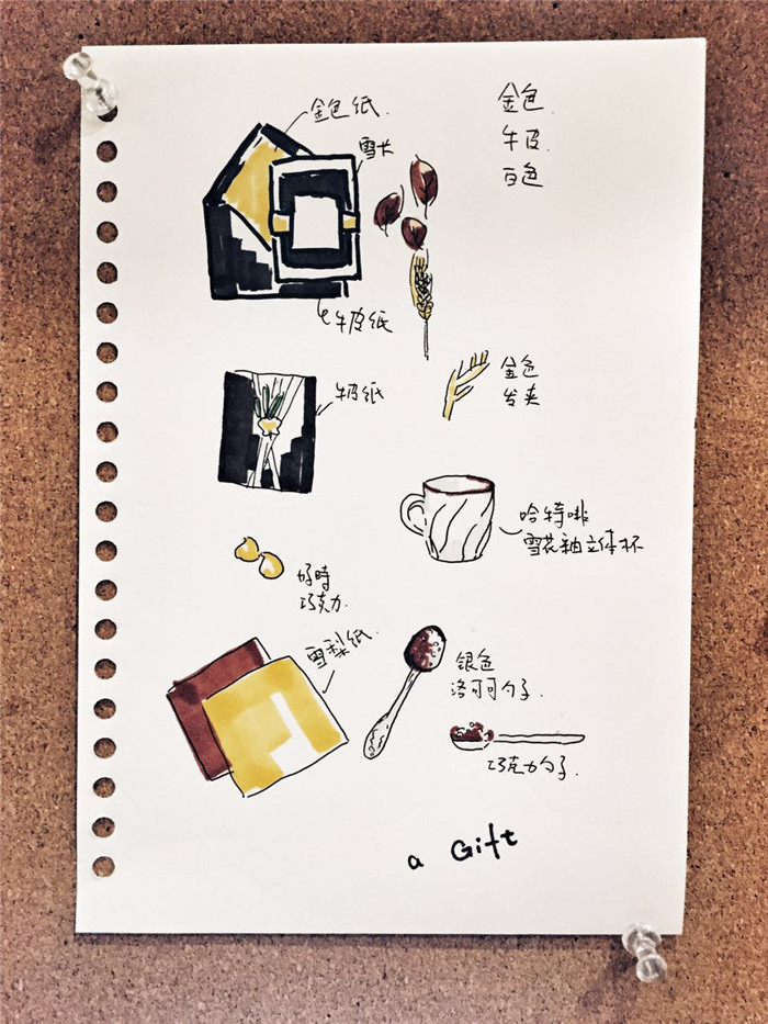 海报礼盒手绘图