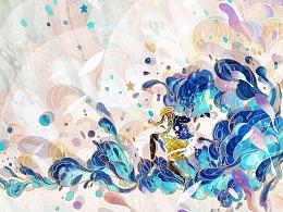 给雪碧画的夏日酷爽罐的设计插画