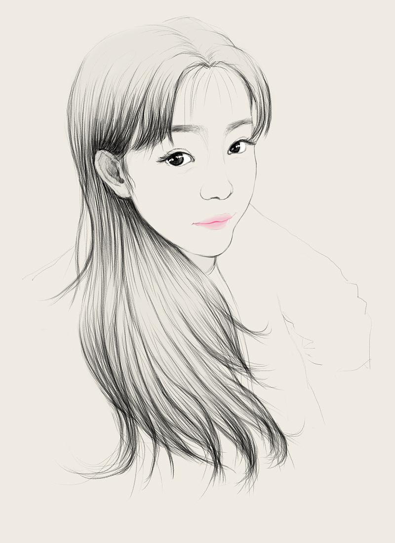 美女手绘 插画 插画习作 阳光的漂流 - 原创作品