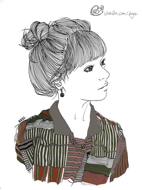 手绘黑白线条[丸子头]|绘画习作|插画|大思